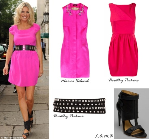 Tess Daly defies the UK's grey summer in hot pink frock