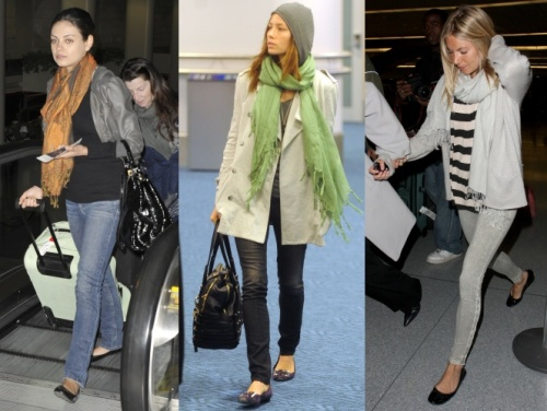Mila Kunis, Jessica Biel and Sienna Miller in their travelling outfits