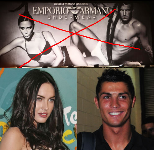 Megan Fox and Cristiano Ronaldo have replaced David and Victoria Beckham as the faces of Armani Underwear