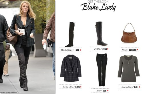 Get Blake Lively's thigh-high boots look by clicking here