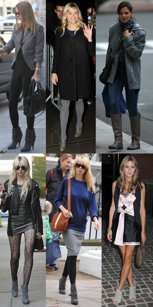 Celebs who have jumped on the grey boot bandwagon include Nicky Hilton, Reese Witherspoon, Katie Holmes, Taylor Momsen, Claudia Schiffer and Olivia Palermo
