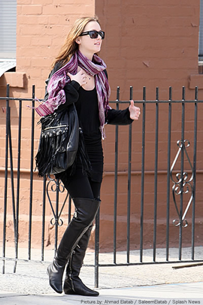 Get Leighton Meester's thigh-high boots style here