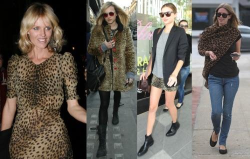 Everyone's wearing leopard print - L to R: Eva Herzigova, Fearne Cotton, Miranda Kerr and Nicky Hilton