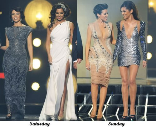 Dannii Minogue and Cheryl Cole on The X Factor, 24 and 25 October 2009