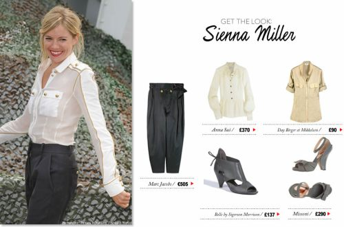 See how you can recreate this gorgeous retro military look as worn by Sienna Miller