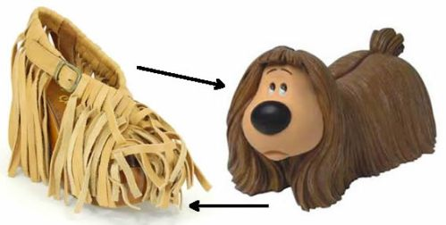 Spot the difference: Irregular Choice's Dougal Magic shoe and Dougal from 'The Magic Roundabout'