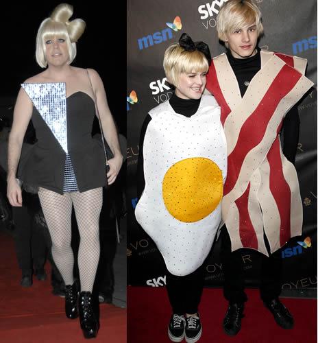 Perez Hilton working the Lady Gaga look; Kelly Osbourne and fiance Luke Worrall as bacon & eggs!