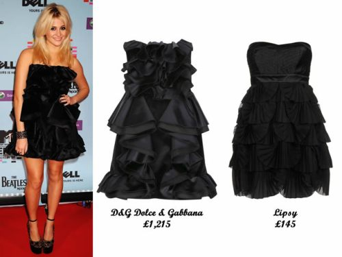 Pixie Lott in a D&G Dolce & Gabbana ruffled dress at MTV Europe Music Awards